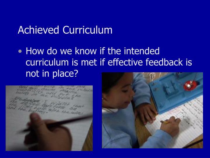 Achieved Curriculum