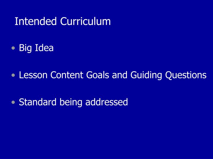 Intended Curriculum