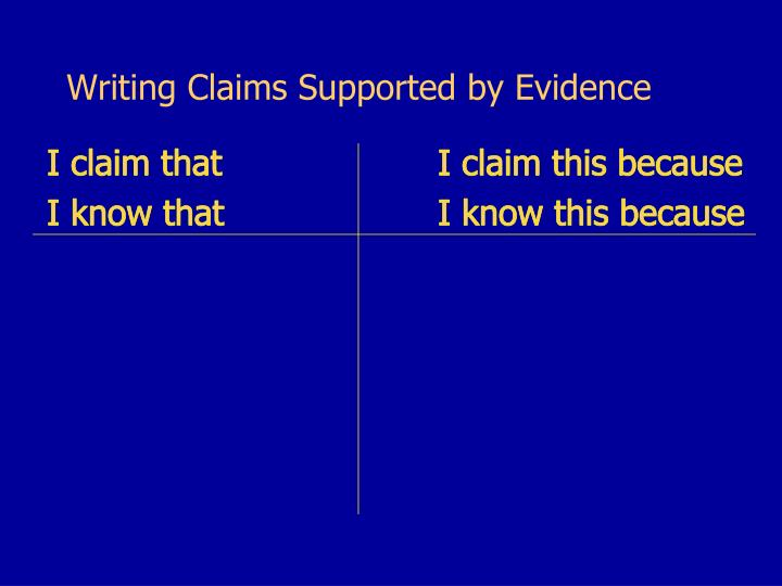 Writing Claims Supported by Evidence