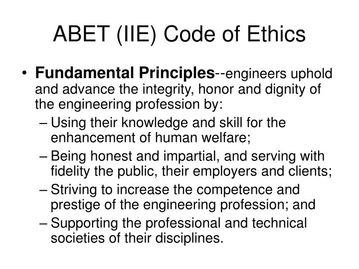 ABET (IIE) Code of Ethics