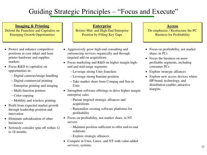 "Guiding Strategic Principles – ""Focus and Execute"""