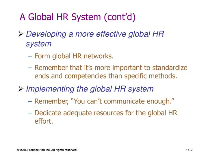 A Global HR System (cont'd)
