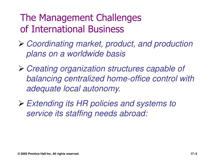 The management challenges of international business