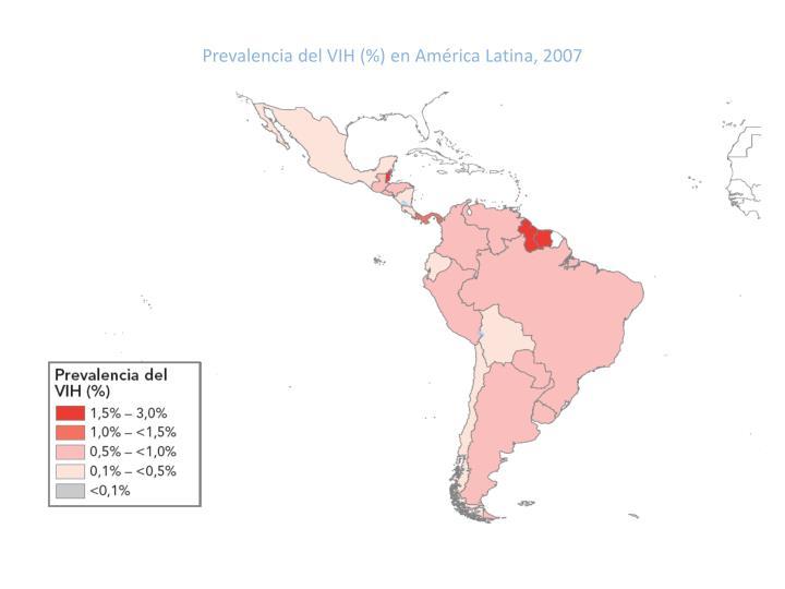 Prevalencia del VIH (%) en América Latina, 2007