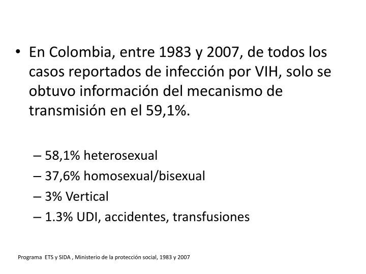 Programa  ETS y SIDA , Ministerio de la protección social, 1983 y 2007
