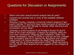 questions for discussion or assignments