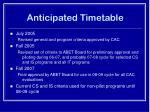 anticipated timetable