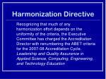 harmonization directive