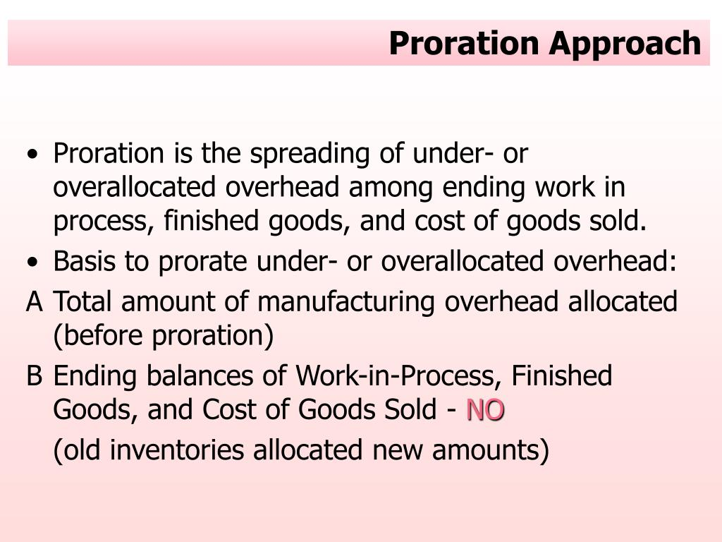 Proration Approach