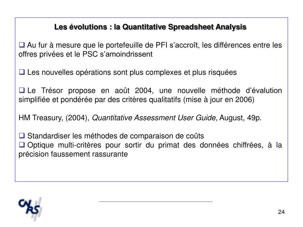 Les évolutions : la Quantitative Spreadsheet Analysis