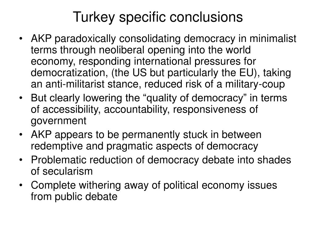 Turkey specific conclusions