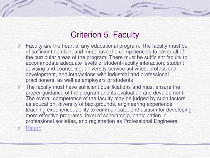 Criterion 5. Faculty
