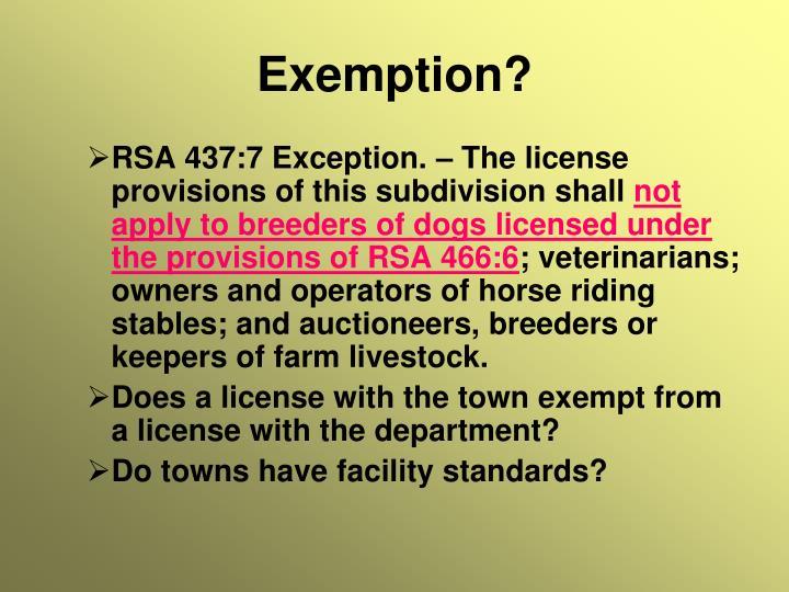 Exemption?