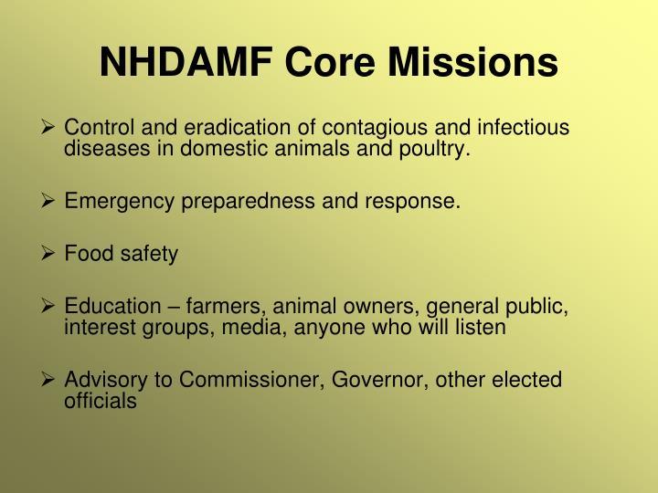 NHDAMF Core Missions