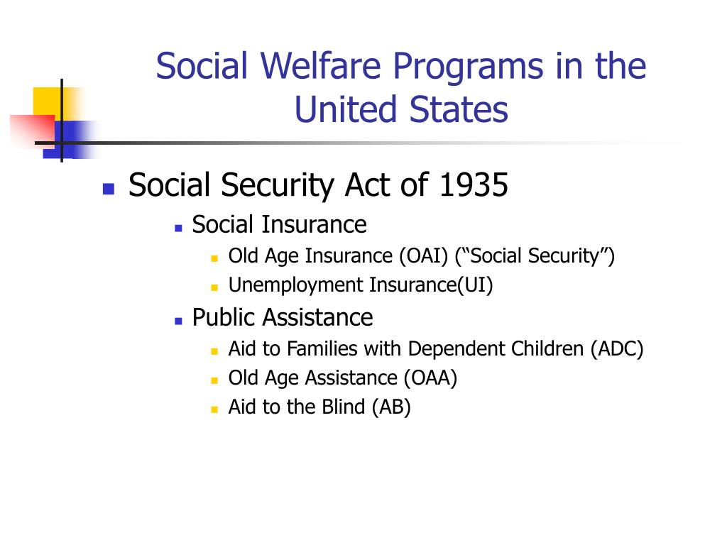 Social Welfare Programs in the United States