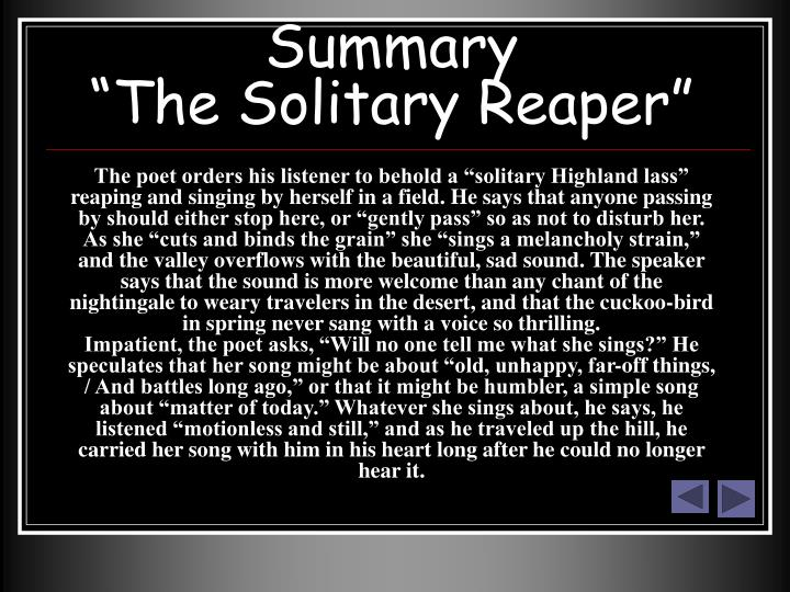 "solitary reaper Click here for the ""and the wave crashed"" chapter 1 chapter 2 selfless  life is a string beaded with experiences."