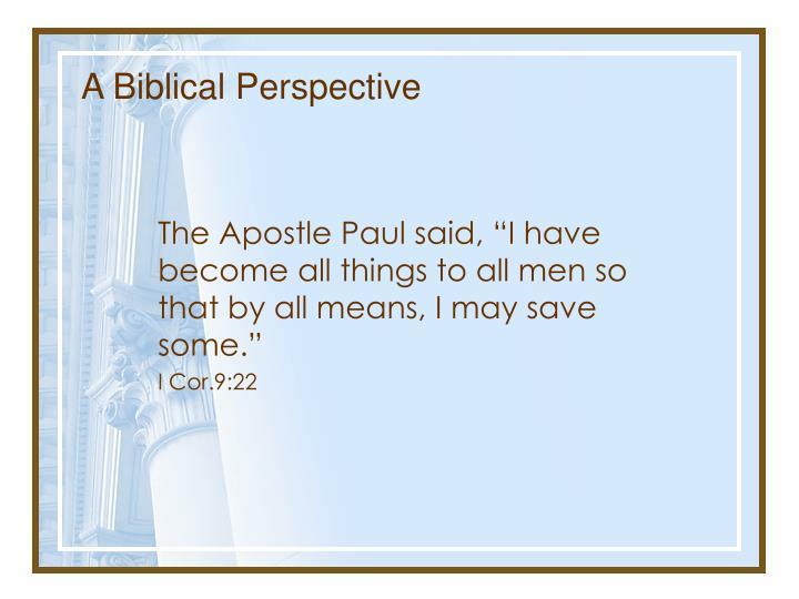A Biblical Perspective