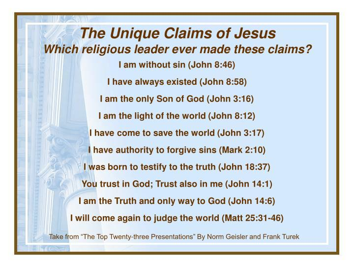 The Unique Claims of Jesus
