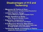 disadvantages of h s and tscherning