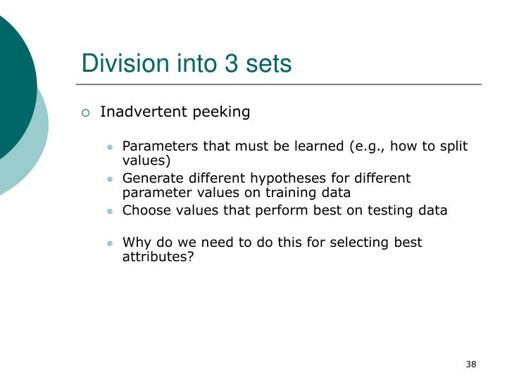 Division into 3 sets