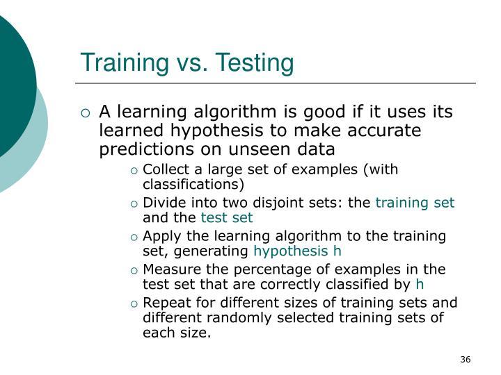 Training vs. Testing