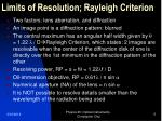 limits of resolution rayleigh criterion