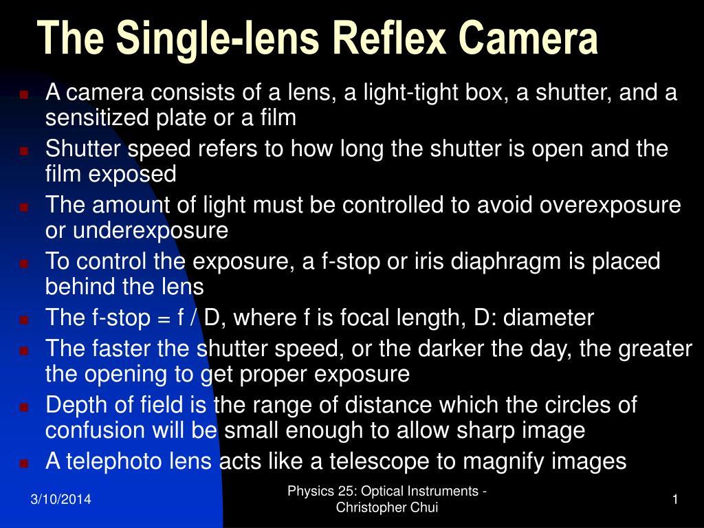 the single lens reflex camera l.