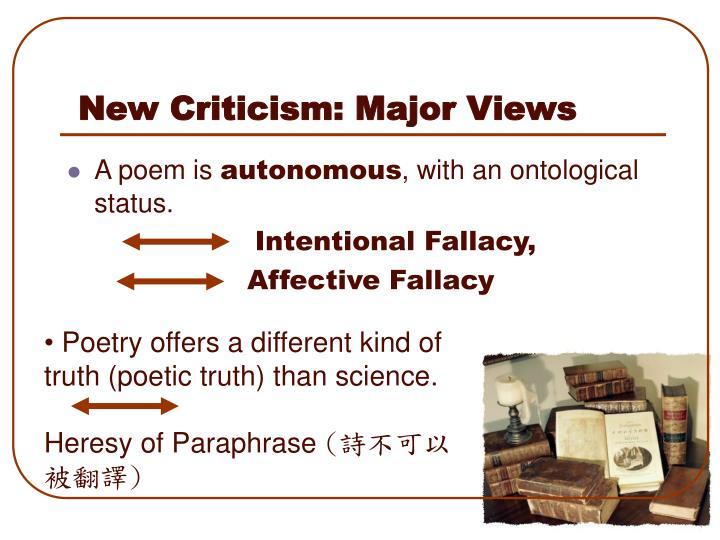 New Criticism: Major Views