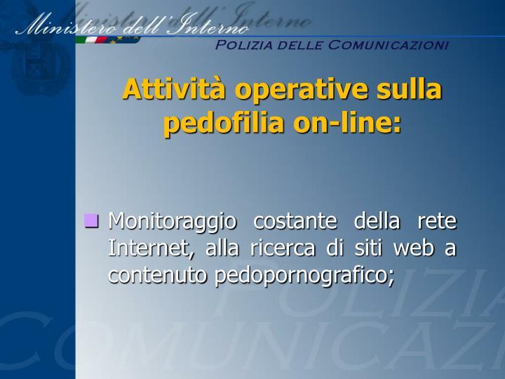 Attività operative sulla pedofilia on-line: