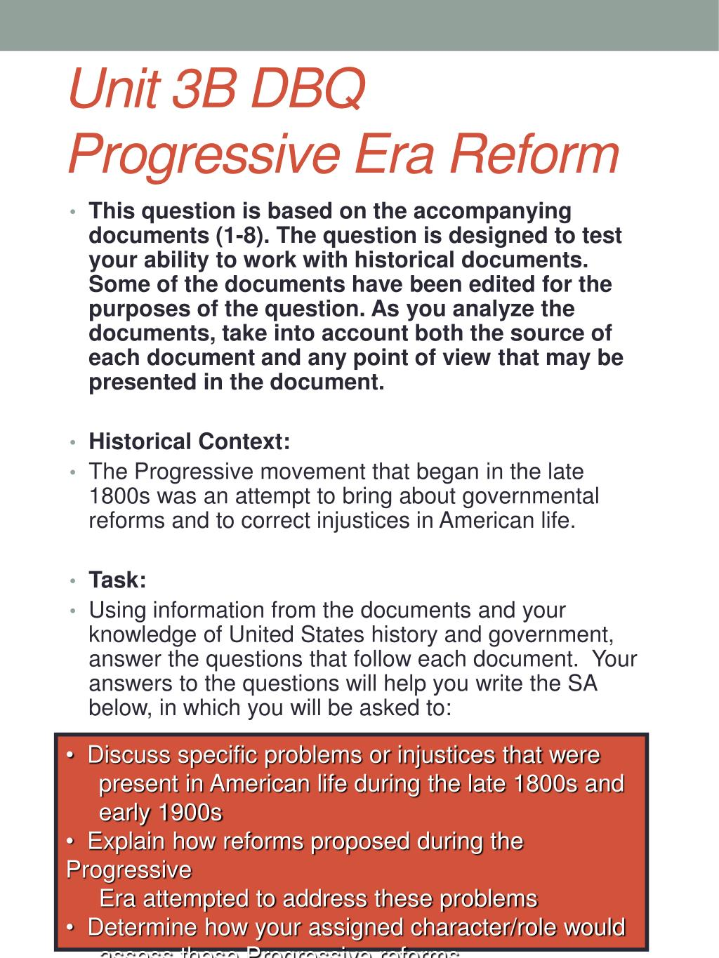 progressive era dbq answers