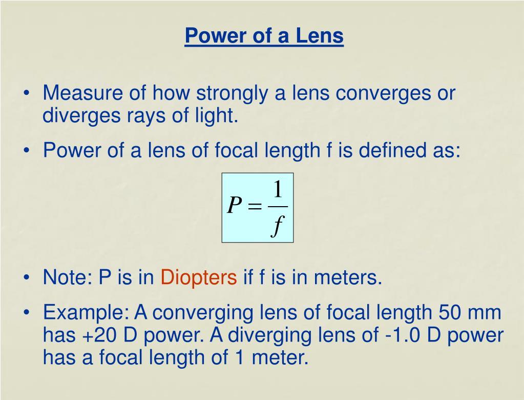 Power of a Lens