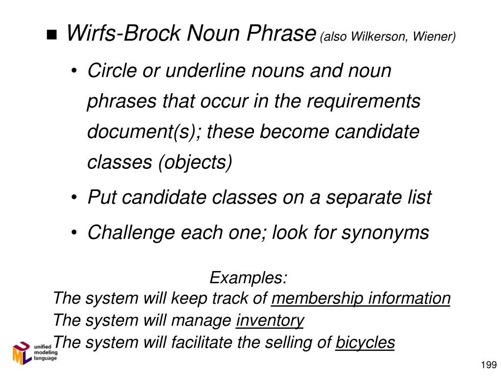 Wirfs-Brock Noun Phrase