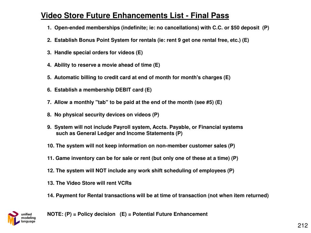 Video Store Future Enhancements List - Final Pass
