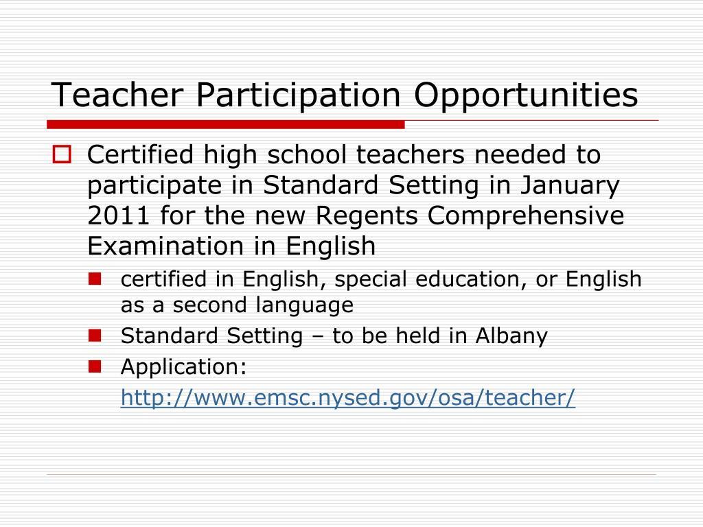 Teacher Participation Opportunities