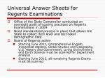 universal answer sheets for regents examinations
