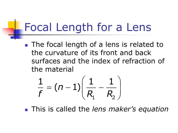 Focal Length for a Lens