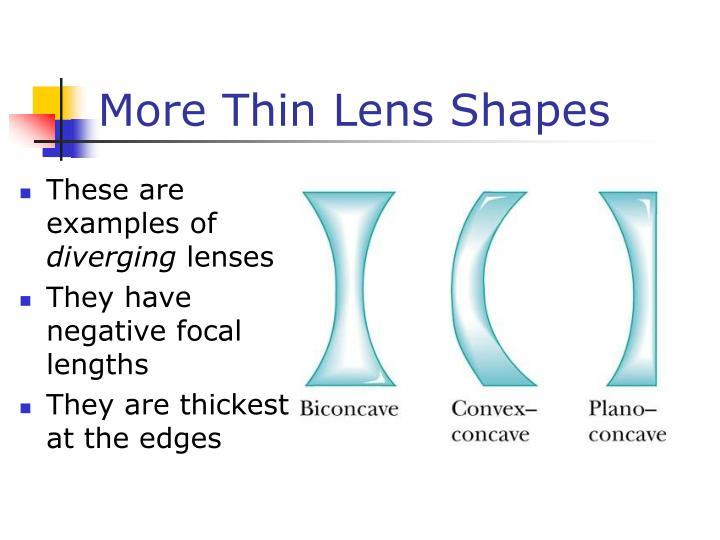 More Thin Lens Shapes