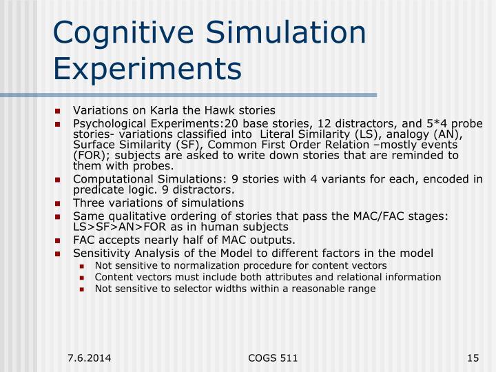 Cognitive Simulation Experiments