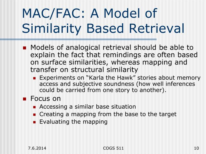 MAC/FAC: A Model of Similarity Based Retrieval