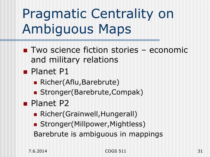 Pragmatic Centrality on Ambiguous Maps