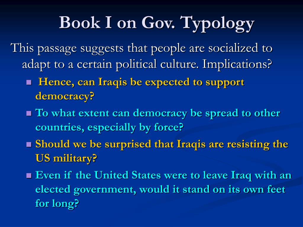 Book I on Gov. Typology