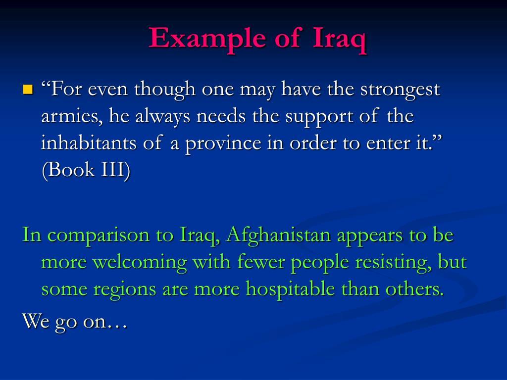 Example of Iraq