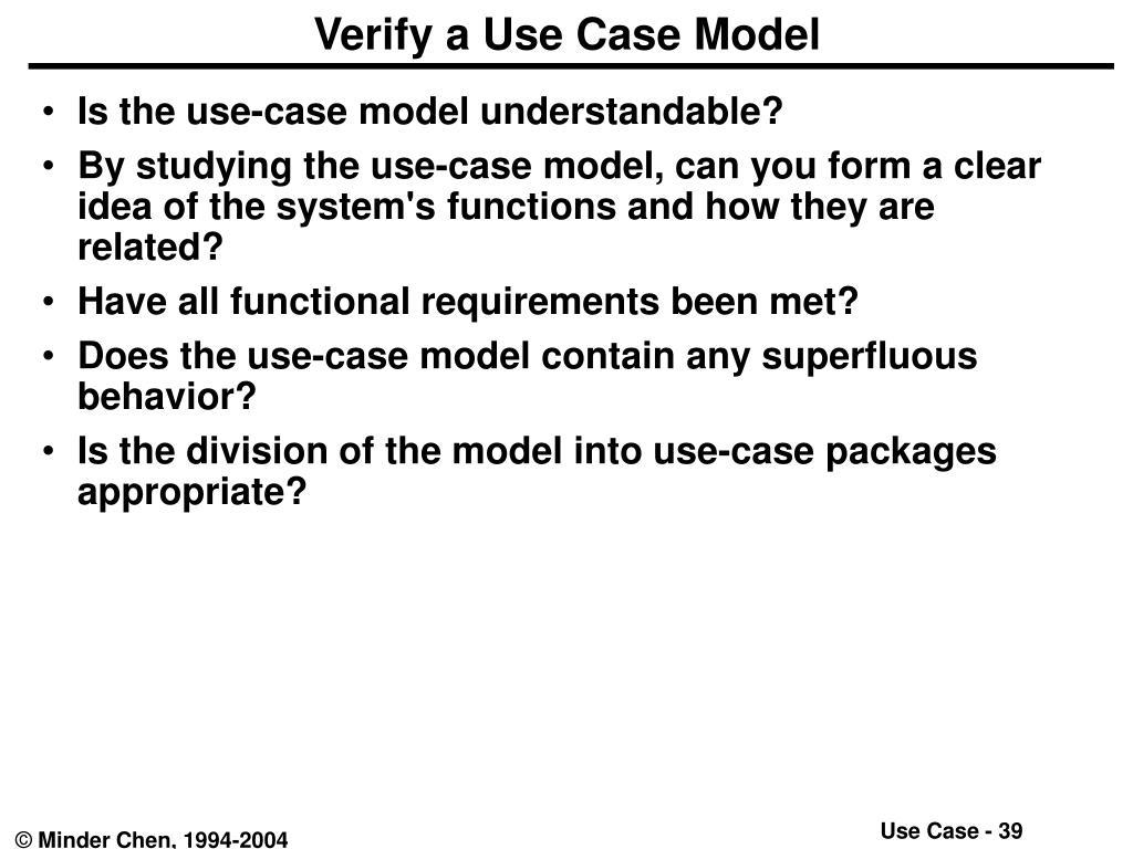 Verify a Use Case Model