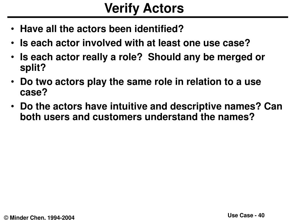 Verify Actors
