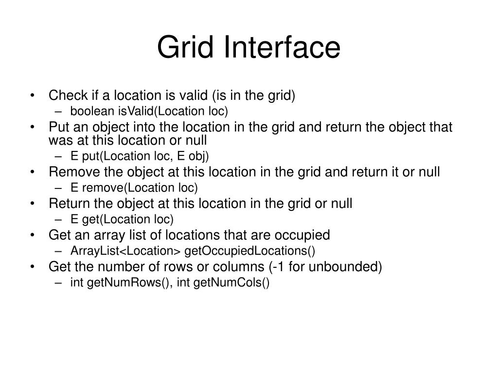 Grid Interface