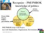 recognize pmi pmbok knowledge of politics