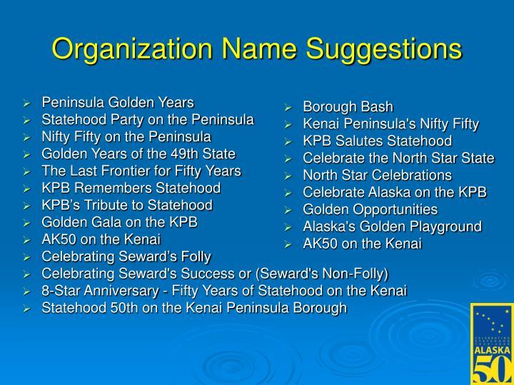 Organization Name Suggestions