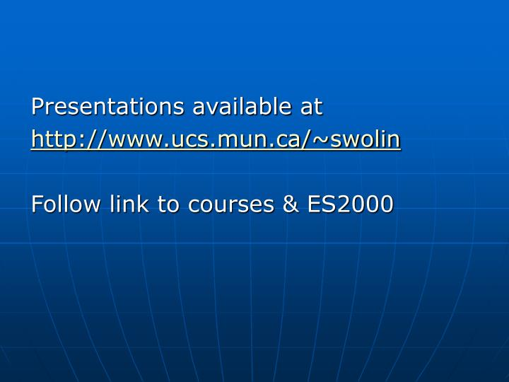 Presentations available at
