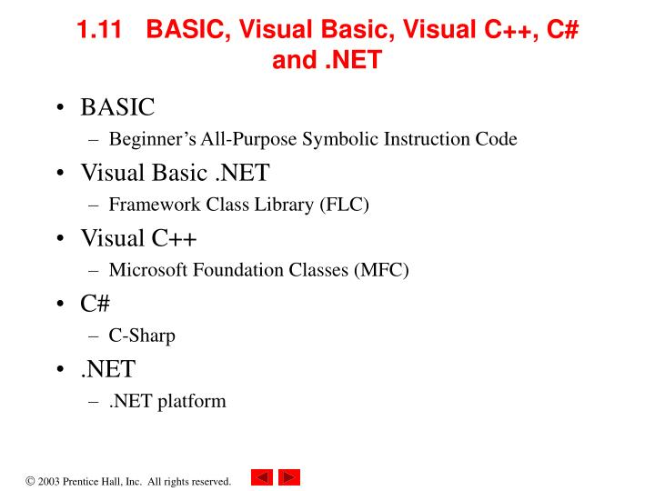 1.11   BASIC, Visual Basic, Visual C++, C# and .NET