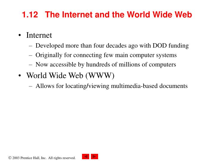 1.12   The Internet and the World Wide Web